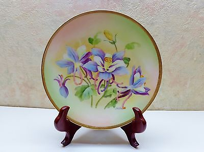 Antique Beyer And Bock Prussia Hand Painted Artist Signed Orchid Plate Mint