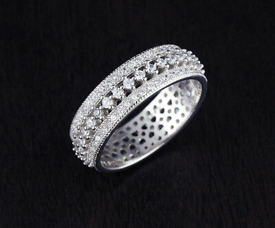 Solid 925 Sterling Silver CZ Round Eternity Engagement Wedding Band Ring 6mm