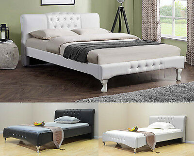 Modern Italian Designer Bed Frame White Black Faux Leather Double King Size