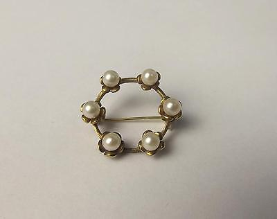 1980 London 9ct Yellow Gold & Pearl Brooch