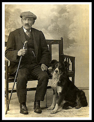 Border Collie Old Shepherd And His Dog Lovely Vintage Style Dog Print Poster