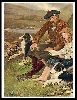 Border Collie Scottish Shepherd And Daughter Lovely Old Style Dog Print Poster