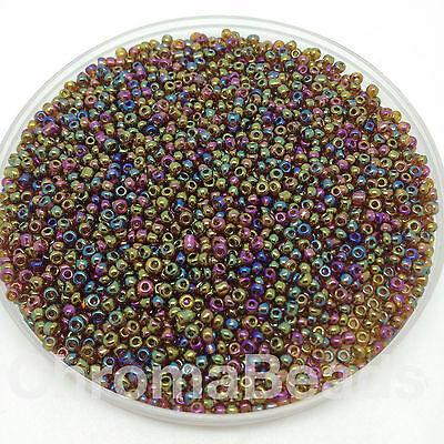50g glass seed beads - Brown Metallic Rainbow - approx 2mm (size 11/0)