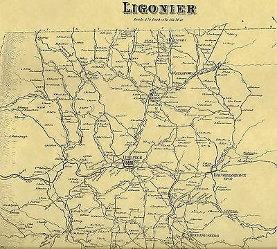 Ligonier Waterford Laughlintown Oak Grove PA 1867 Maps Landowners Names Shown