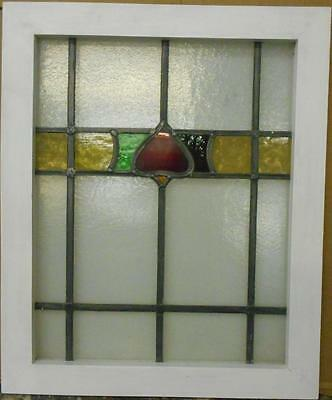 "MID SIZED OLD ENGLISH LEADED STAINED GLASS WINDOW Colorful Band 23.25"" x 28"""