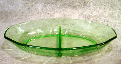 Vintage FOSTORIA Depression GREEN Glass FAIRFAX Divided DISH Relish BOWL Tray
