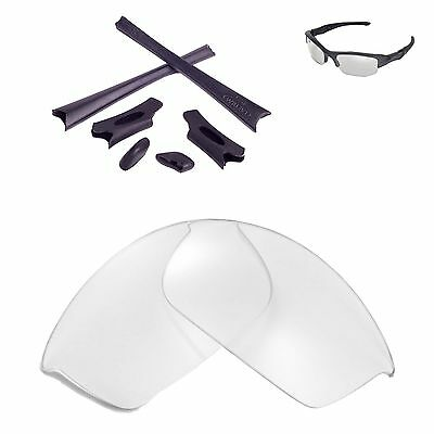 Walleva Clear Replacement Lenses And Black Rubber Kit For Oakley Flak Jacket