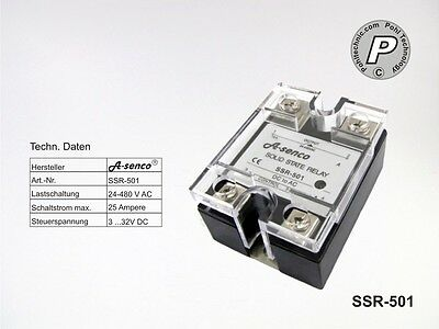 Solid State Relais SSR-501 25A AC Steuerspannung 3-32VDC CE-konform