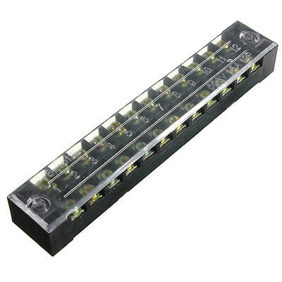 New 600V 15A Dual Row 12 Positions Screw Terminal Electric Barrier Strip Block