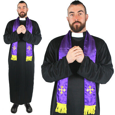 COLLAR MENS PRIEST FANCY DRESS COSTUME VICAR MONK STAG OUTFIT LONG BLACK ROBE