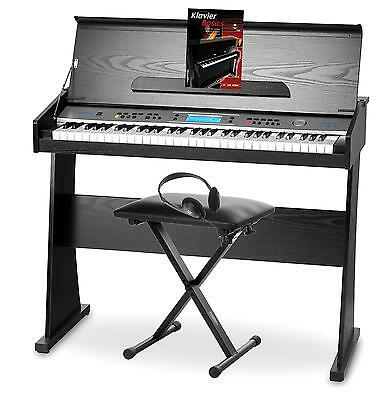 Digital Electronic Piano Keyboard Set 61 Keys 128 Sounds Pedal Bench Headphones