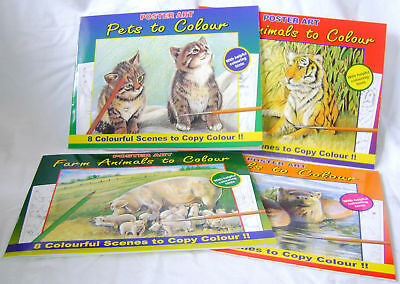 New 4 Books Pictures To Copy Colour Adult Colouring. Farm Wild Animals Pets Sale