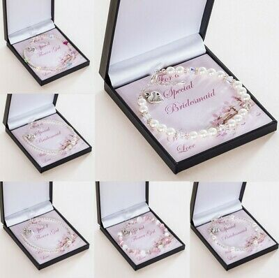Thank You Gifts for Bridesmaids & Flower Girls, Bracelets on Card in Gift Boxes