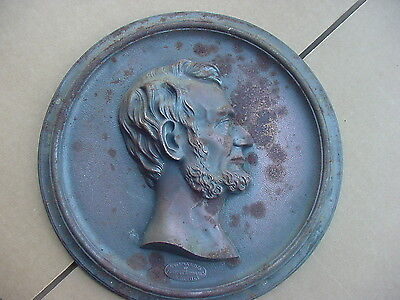 Lincoln Cast Iron Plaque Compliments of Foster Merriam Co. Meriden CT  11 1/4""