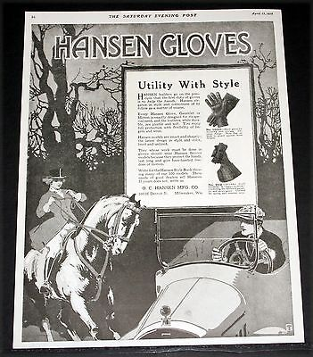 1918 Old Magazine Print Ad, Hansen Glovers, Utility With Style, Help The Hands!