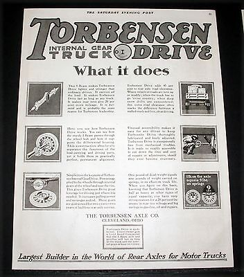 1918 Old Magazine Print Ad, Torbensen Rear Axles And Internal Gear Truck Drive!
