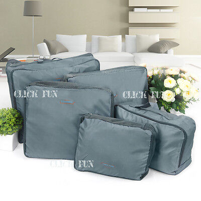 5X Packing Cube Pouch Suitcase Clothes Storage Bag Travel Luggage Organizer Grey