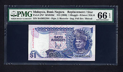 Malaysia 1 Ringgit ND 1989 Replacement Note  P. 27b PMG 66 EPQ GEM UNC
