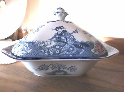 Antique Woods Ware Wood & Sons Tsing Geisha Blue & White Square Covered Veg