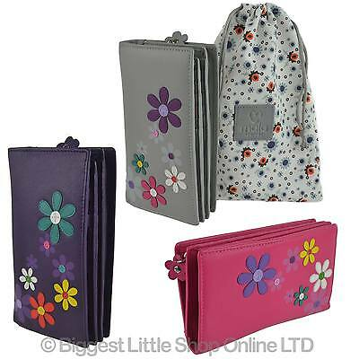 NEW Ladies LEATHER Tall Zip Around Purse/Wallet by MALA; Cara Collection Flowers
