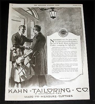 1919 Old Magazine Print Ad, Kahn-Taloring, Made To Measure Clothes, Fashion Art!