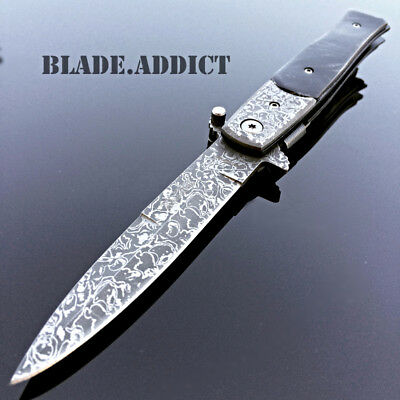 TAC FORCE Milano Stiletto Damascus Spring Assisted Open Pocket Knife BLACK NEW