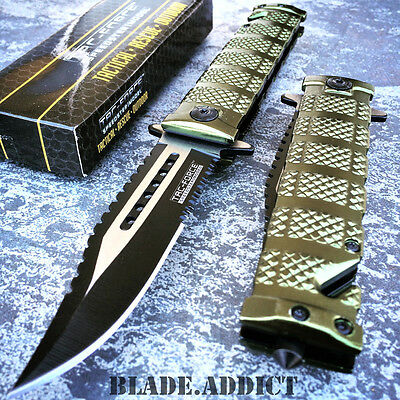 TAC FORCE Spring Assisted Open Military GREEN Bowie Rescue Tactical Pocket Knife