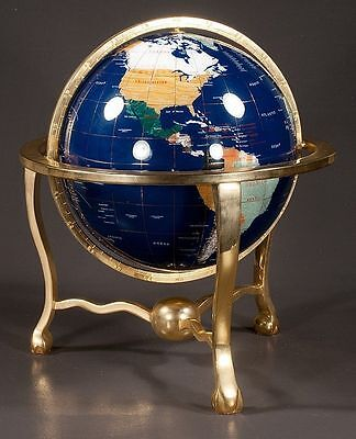 "HUGE 14"" Gemstone Brass terrestrial world globe GREAT shape HIGH-END"
