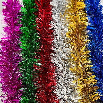 LUXURY Thick SILVER Christmas Tinsel 2 METRE Garland Christmas Tree Decoration