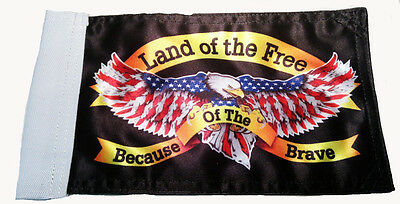 """Small Biker Flag Land Of The Free Because Of The Brave Motorcycle Flag  6"""" X 9"""""""