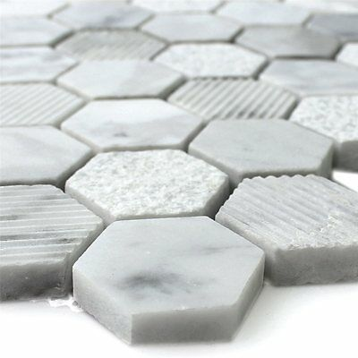 Natural Stone Hexagon Mosaic Tiles Carrara Whiite