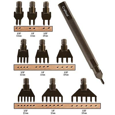 Craftool 10 Piece Diamond Hole Chisel Set Tandy Leather 3009-00 Free Shipping