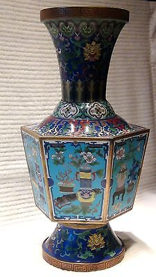 antique 19c chinese cloisonne hexagonal precious ornament vase w/scrolling lotus