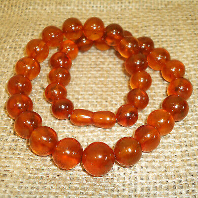42 gram! Antique Old Genuine Baltic Egg Yolk Amber Round Beads Necklace, 92