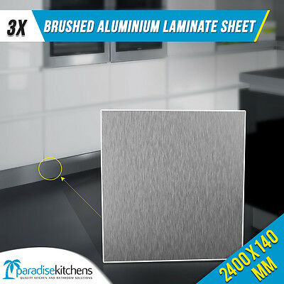 3 x brushed aluminium laminate kitchen kickboard plinth 2.4 vanity laundry pack