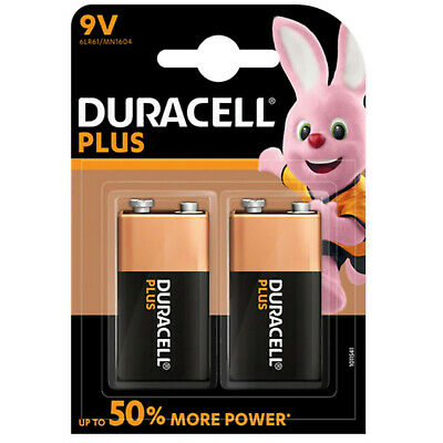 2 x Duracell Plus power 9V Batteries MN1604 6LR61 PP3 Batteries twin pack