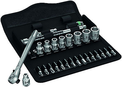 "Wera 004018 Zyklop 1/4"" drive metal switch slim ratchet 28pc socket set metric"