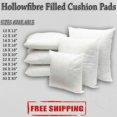 Hollowfibre Cushion Pads Extra Filled White Fiber All Size Free & Fast Delivery