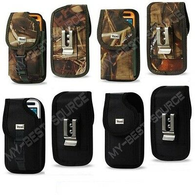Rugged Canvas Pouch Holster Clip Large Phone To Fit Plastic/Rubber/Shell Case