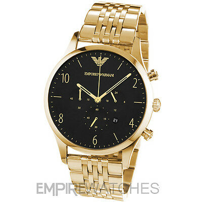 *New* Mens Emporio Armani Beta Gold Chronograph Watch - Ar1893 - Rrp £339.00