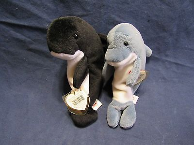 Set of 2 Ty Beanie Babies Waves Killer Whale and Dolphin Plush Toys ERROR TAGS