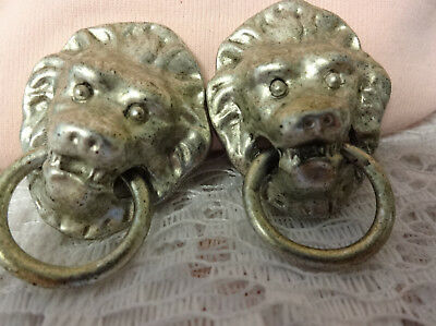 Vintage Padma Lakshmi's Couture Silver Tone Lion Head Door Knocker Clip Earrings