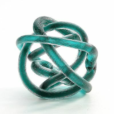 "New 6"" Hand Blown Art Glass Knot Sculpture Figurine Abstract Green"