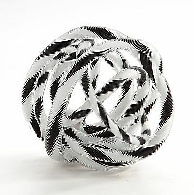 "New 8"" Hand Blown Art Glass Knot Sculpture Figurine Black White"