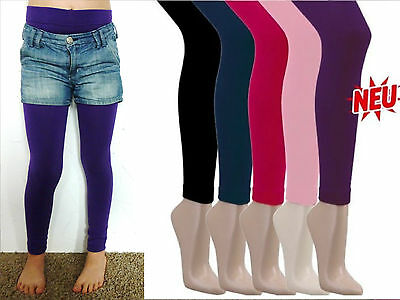 Mädchen Winter Leggings Hose Winterleggings Thermo Warm Fleece Uni 98 - 164