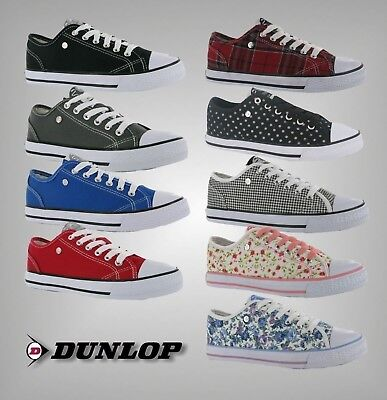 f88beca01c4d Ladies Branded Dunlop Everyday Full Lace Up Canvas Low Trainers Shoes Size  3-8