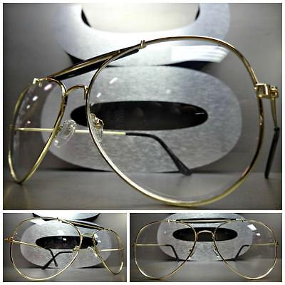 Mens Women CLASSIC VINTAGE AVIATOR Style Clear Lens EYE GLASSES Gold Metal Frame
