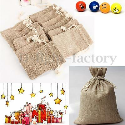 12 Hessian Linen Burlap Drawstring Jute Candy Gift Christmas Favors Bags Pouches