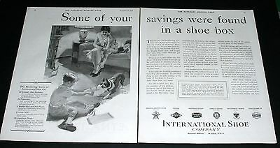 1929 Old Magazine Print Ad, International Shoe Savings In A Box, Fred Mizen Art!