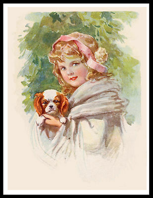 Cavalier King Charles Toy Spaniel And Girl Lovely Vintage Style Dog Print Poster